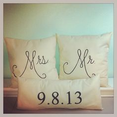 Mr. & Mrs. Pillows with date Stuffed by 2CuteCrafts4U on Etsy, $46.00