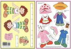 Printable Strawberry Shortcake Paper Dolls with 4 sheets of clothing and accessories! (Links to other paper dolls posted here as well.)