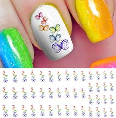 Rainbow Butterfly Stack Water Slide Nail Art Decals - Salon Quality 5.5' X 3' Sheet! >>> This is an Amazon Affiliate link. Be sure to check out this awesome product.