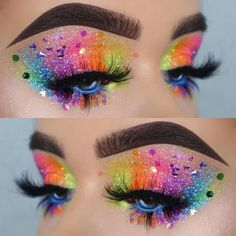 Rainbow Glitter Eyes Makeup Look For Your Next Electronic Music Festival Or Rave Pride Makeup Ideas Electronic Eyes Festival Glitter Makeup Music Rainbow Rave Rainbow Makeup, Colorful Eye Makeup, Colorful Eyeshadow, Exotic Makeup, Rainbow Face, Make Up Designs, Galaxy Makeup, Makeup Eye Looks, Glitter Makeup Looks