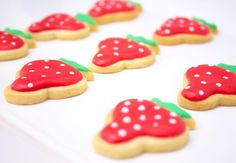 Adorable sweetness 🍓🍓🍓💕Delicious & Trendy hand decorated strawberry cookies!