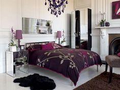 Mirror + Purple decoration ideas: I want this bedroom!