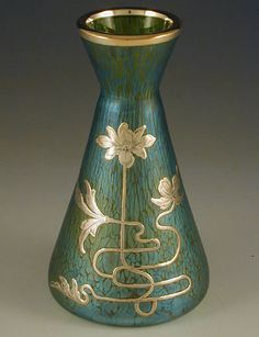 Loetz Iridescent Green Glass Vase With Silver Overlay Art Nouveau Floral Decoration - Austria   c.1905