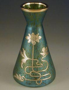 Loetz Art Nouveau florero de cristal con recubrimiento de plata