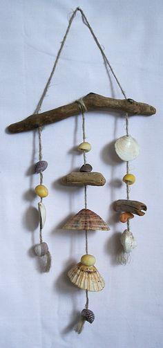Mobile bois flott et coquillages d coration nature accessoires de maison par maskott c t - Mobile en bois flotte ...