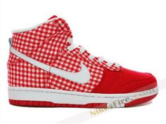 the best attitude a2069 bd119 Nike Dunk High Skinny Plaid Tablecloth Plaid Tablecloth, Nike Dunks, Red  Shoes, High