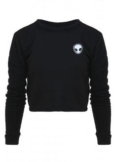 Black polyester cropped jumper with small embroidered alien head. Space Grunge, Attitude, Jumper, Sweatshirts, Sweaters, T Shirt, Clothes, Shopping, Style