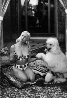 Model and poodle