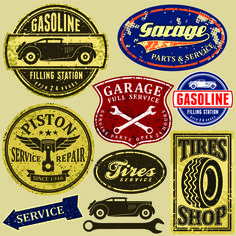 Different Car Service Labels vector 02
