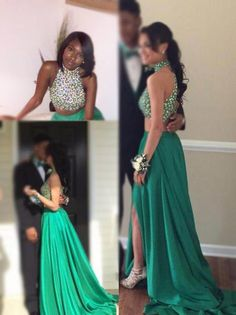 Glamorous Two Pieces High Neck Prom Dresses,Beading Prom Dresses,Open Back Prom Dresses,With Slit Prom Dresses by DRESS, $178.00 USD