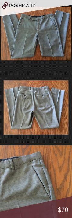 "HUGO BOSS  Sharp1 Men's Dress Pants Slacks Flat EUC, well made, modern design with slim waist band . Length from waist to hem is 40.5"", rise is 10"", inseam is 32"". Back & front pockets . Made of 100% Virgin Wool. Hugo Boss Pants Dress"