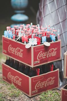 Glass coke bottons as favors in Callie and Spencer's Coca-Cola Themed Wedding at Georiga Rustic Wedding Venue - Fritz Farm. Jaime Warren Photography