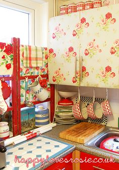 cover your units in cath kidston wallpaper