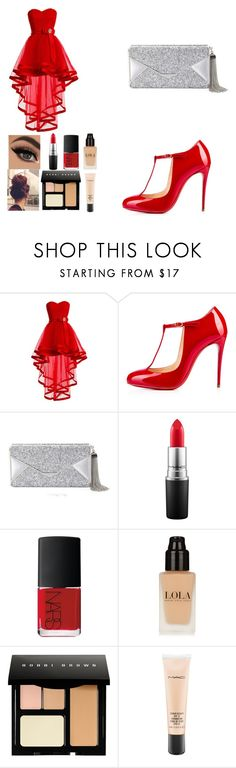"""Red"" by scarleet-costello ❤ liked on Polyvore featuring Christian Louboutin, BCBGMAXAZRIA, MAC Cosmetics, NARS Cosmetics, Bobbi Brown Cosmetics, women's clothing, women's fashion, women, female and woman"