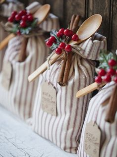 Fabulous Santa Bags  *Lovely Clusters - The Pretty Blog: Gray + Red Christmas Packaging