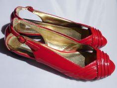 Steve Madden Red Patent Peep Toe Flats Size 8.5 8 1/2 Womens Naomi #SteveMadden #OpenToe