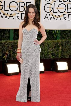 Game of Thrones star Emilia Clarke stunned at the Golden Globes.