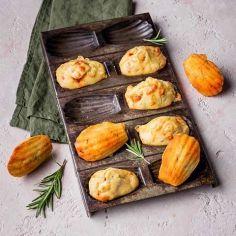 Recette madeleines à la raclette , chorizo et romarin