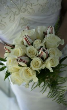 Incredible bridal bouquet accented by Sports Roses!  These handmade roses can be used to accent wedding reception centerpieces or made into Boutonnieres for the groomsmen.