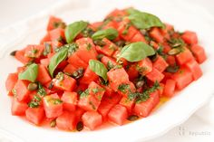 Watermelon Salad‏ with Basil Oil & Pumpkin Seeds Recipe Whole Food Republic