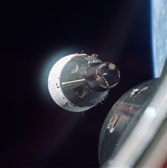 Gemini 7 as seen from Gemini 6 as the two spacecraft rendezvous in Earth orbit | December 15, 1965 | NASA