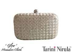 'GLOW' Minaudière  A classic white gold Minaudiere, with an interweave pattern in Zari. Add that touch of class to your outfit with this timeless piece. Optional silver chain.Limited Edition Piece.