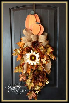 Fall Wreath with lights Teardrop Swag Front Door Hanger by JWDecor, $89.00