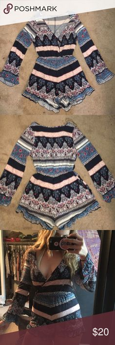 Boho bell sleeve wrap romper NWOT Flowery, beautiful pattern! Originally from cotton on Cotton On Other