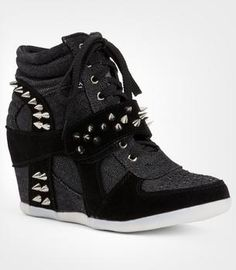 I found 'Spike High Top Hidden Wedge Sneakers Shoes Heel Women Girls Accessories Kawaii Lolita Emo Gothic Lolita Cute Stud Studded' on Wish, check it out!