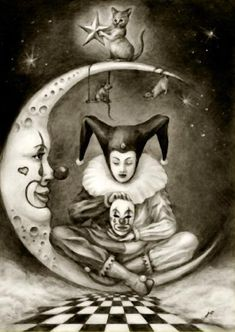 Moon tatted on me Creepy Circus, Circus Art, Creepy Clown, Cirque Vintage, Vintage Clown, Circus Tattoo, Clown Tattoo, Clowns, Jester Tattoo