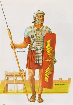 Roman Legionary of the late 1st century AD.  (Peter Connolly/user: Aethon)
