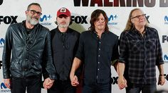 Jeffrey Dean Morgan, Andrew Lincoln and Norman Reedus and director Greg Nicotero attend 'The Walking Dead' Eurotour photocall at Capitol cinema on March 9, 2017 in Madrid, Spain