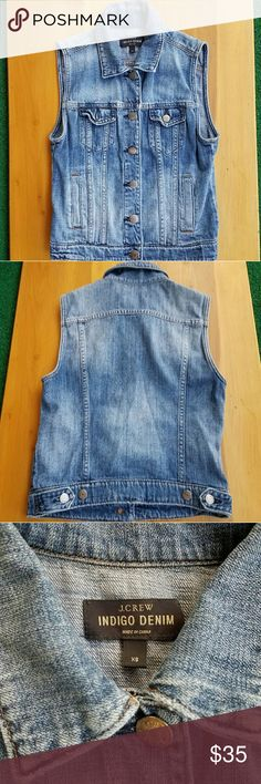 J. Crew Indigo Denim Vest EUC.  Hits at the waist.  Adjustable sides. Machine wash. J. Crew Jackets & Coats Vests