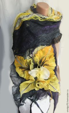 Купить палантин-Орхидея - желтый, черный, желтый и чрный, орхидея, палантин, Валяние, валяный палантин