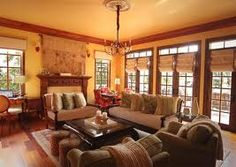 Love this warm color scheme for living room!