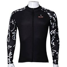 Twotwowin Long Sleeve Cycling Jersey for Men Black L The Chinese characters Arms 400 >>> Click image to review more details. (Note:Amazon affiliate link)