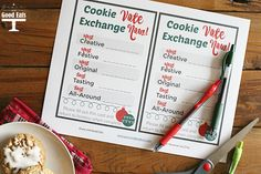 Yummy cookie recipe, cookie exchange printable, and coupon code for Pilot Pen G2 gel ink pens! AD DoYouG2