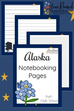 Kids will enjoy writing research papers, stories and more about Alaska using these fun Alaska Notebooking Pages! #Alaska #USA #Geography #Homeschool #USGeography #Homeschooling #YearRoundHomeschooling #Printable