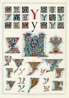 Owen Jones Illuminated Letters, gilt prints of the alphabet from 1864 Illuminated Letters, Illuminated Manuscript, Lettering Design, Hand Lettering, Decoupage, Owen Jones, Letter Art, Alphabet Art, Initial Letters
