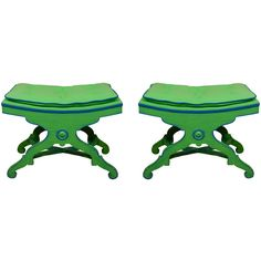 Palm Beach Chinoiserie - Kelly Green with Blue Accent Benches
