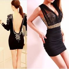Slim Sexy Dress Left> http://www.onfancy.co.uk/luxury-boat-neck-faux-pearl-embellished-backless-long-sleeve-black-over-hip-club-dress.html Right> http://www.onfancy.co.uk/slim-sexy-mesh-sequined-dress.html