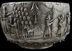 Monumental & Extremely Rare Parsee Muktad Silver Bowl India or Burma 19th century