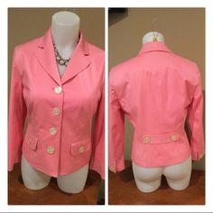The Limited Pink Blazer NWOT this jacket is brand new, never worn in bubblegum pink.  cUte detail on back with 3/4 sleeves.  jacket is 19 3/4 long - not cropped but not regular length either. The Limited Jackets & Coats Blazers