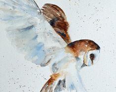 Aquarelle peinture chouette de chouette impression peinture de chouette imprimer peinture aquarelle Hibou grand 11 x 14 Effraie des pépinière art pépinière décor bleu marron