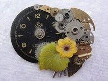 Brosche aus alten Uhrenteilen