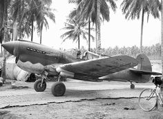 Flying officer D.E. Pank, RAAF, taxiing his P40 Kittyhawk along the dispersal runway