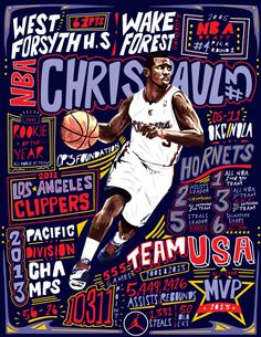 Typography/ Illustration poster design of Superstar Point Guard, Chris Paul.