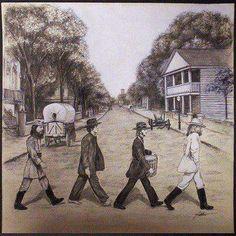 Abbey Road - The Beatles wester cowboy hats vintage photograph