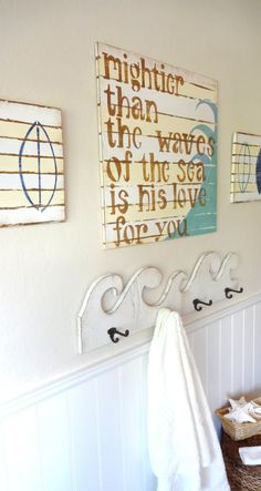 Surfer Boy Bedroom/Bathroom Nautical Prayer Sign PSALM by MeetMeByeTheSea: Etsy. Love this theme for my boys bathroom, with the white washed wood & wave motif. Boys Nautical Bedroom, Nautical Bathrooms, Beach Bathrooms, Bathroom Kids, Kids Bath, Bathroom Wall, Design Bathroom, Bathroom Interior, Kid Bathrooms