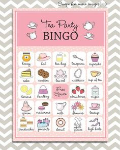 Tea Party Bingo 20 unique game cards Printable by PaperGemsShop